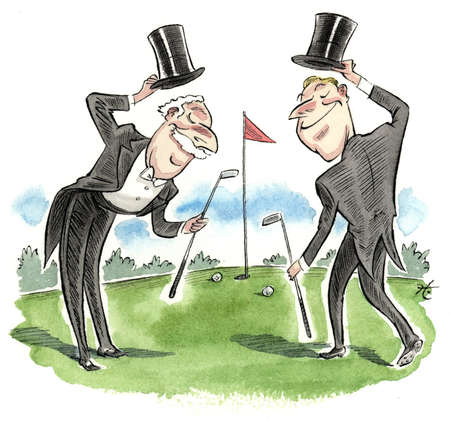 Two men with top hat and tails bowing to each other on the putting green