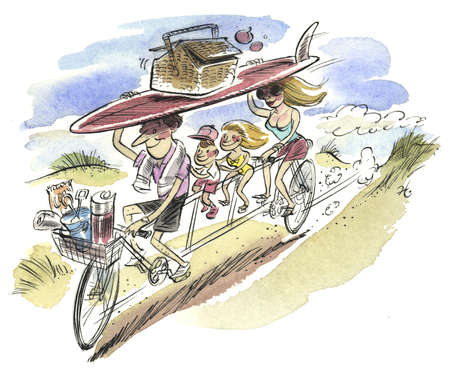 Family on a bike with a surfboard and picnic basket