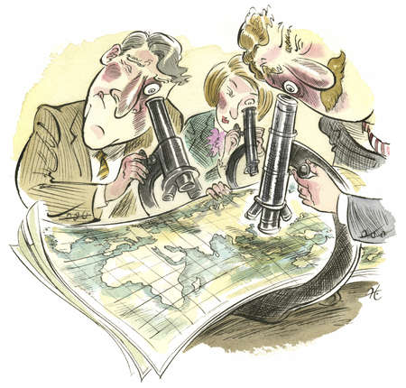 Executives looking at world map with telescopes