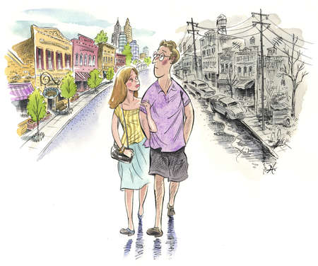 Couple walking through a neighborhood that is both good and bad