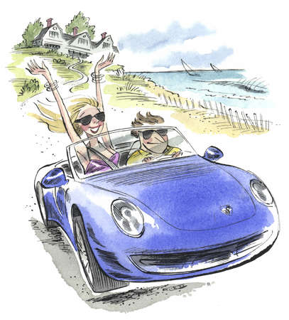Couple in sports car driving to the beach
