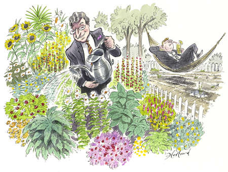 Businessman tending a garden next to a businessman in a hammock with a weedy garden