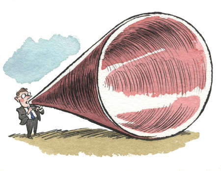 Small businessman with huge megaphone