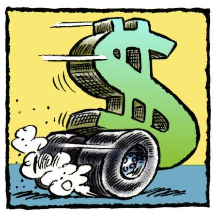Dollar sign as race car