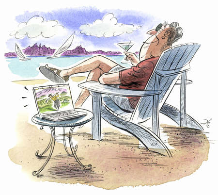 Man on the beach with a laptop and martini
