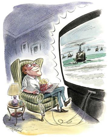 Man with laptop keyboard watching big screen tv