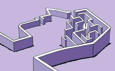 Man walking inside a maze in the shape of a person's brain.