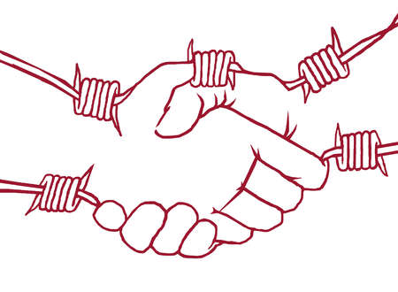 Shaking hands made of barbed wire.