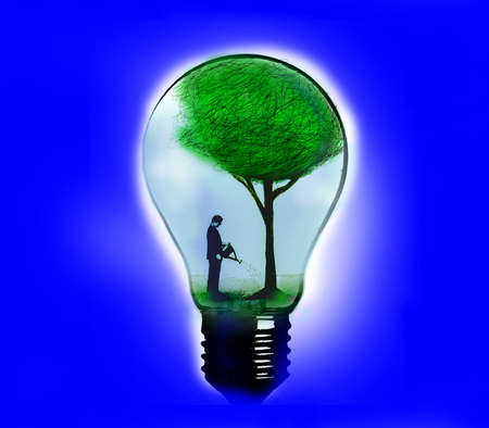 Man inside a lightbulb watering a green tree.