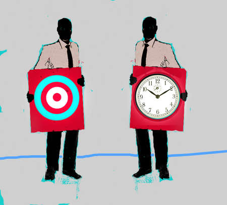 Two businessmen holding up a target and a clock