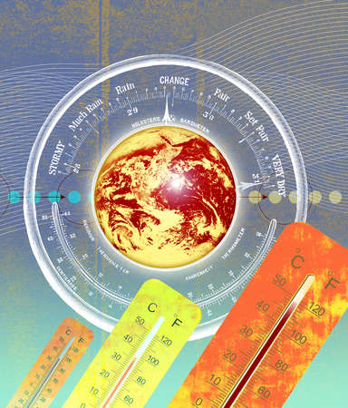 Montage of barometer, the earth and thermometers