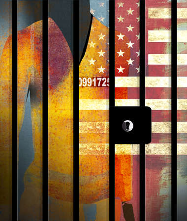 Silhouette of a U.S. prisoner behind bars with a serial number and U.S. flag