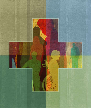 Health Cross comprised of the elderly and care-givers.
