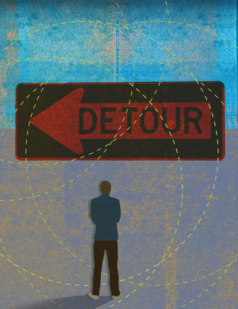 Man looking at a detour sign surrounded by intersecting circles.
