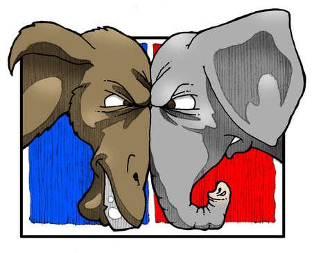 Elephant and donkey eye to eye.