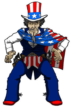 Uncle Sam posed for a gun duel