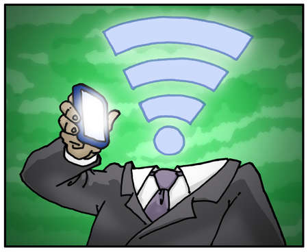 Businessman with a wifi symbol as a head holding a smartphone.