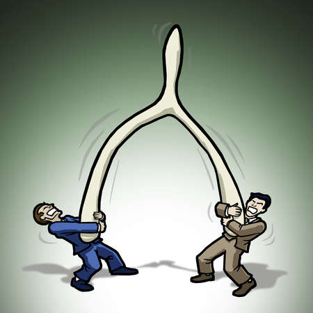 Two businessmen trying to pull a wishbone apart