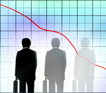 Man beginning to disappear while looking at a downward growth chart.