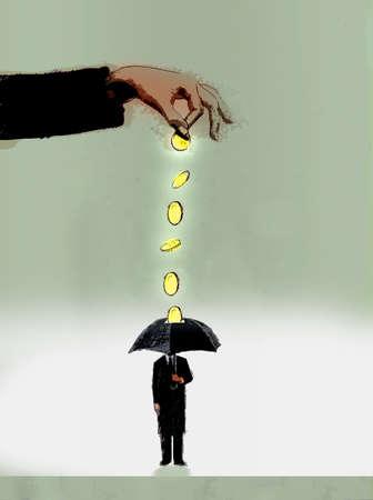 Hand putting coins through a man's umbrella.