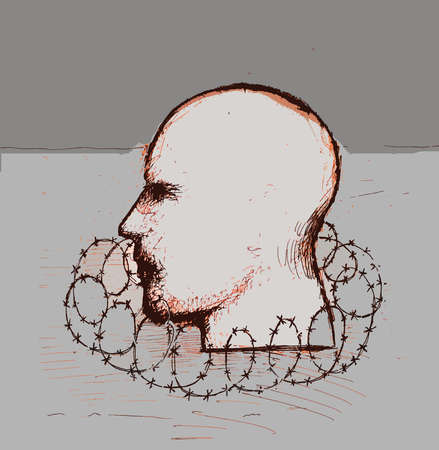 Profile of head surrounded by barbed wire