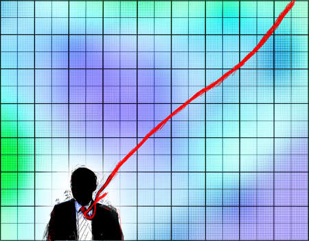 Man's tie becomes an upward line on a graph.