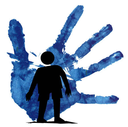 Silhouette of a person being held back by a large hand