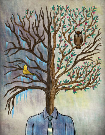 Illustration of man with tree head representing bipolar disorder.