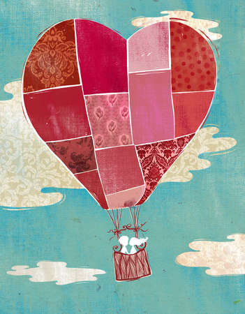 Illustration of couple in hot air balloon.