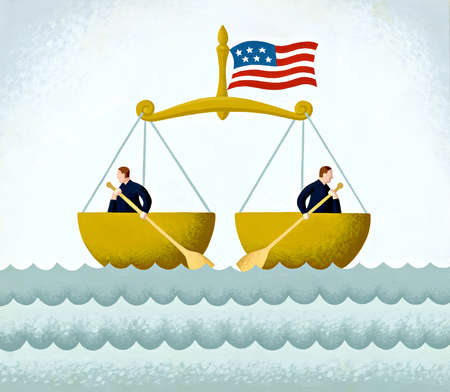 Two attorneys on the ocean, in a legal scale, and rowing in opposite directions