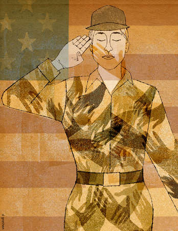 American servicewoman covered in hand-prints and saluting in front of American flag.
