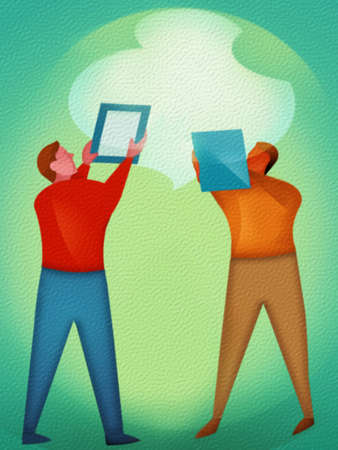 Two people using tablets pointing to a cloud.