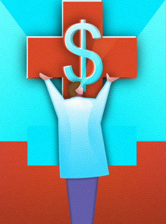 Doctor holding up cross with dollar sign.