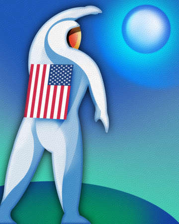 Astronaut with an American flag on his back.