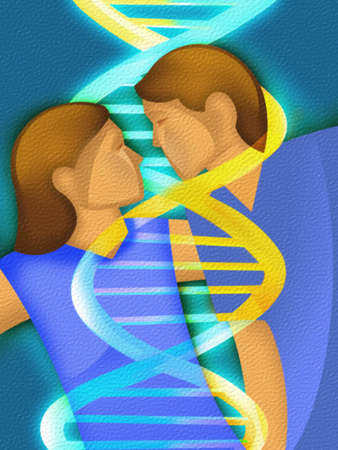 Couple embracing with a DNA strand between them