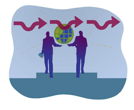 Two businesspeople lifting up earth with arrows going in one direction.