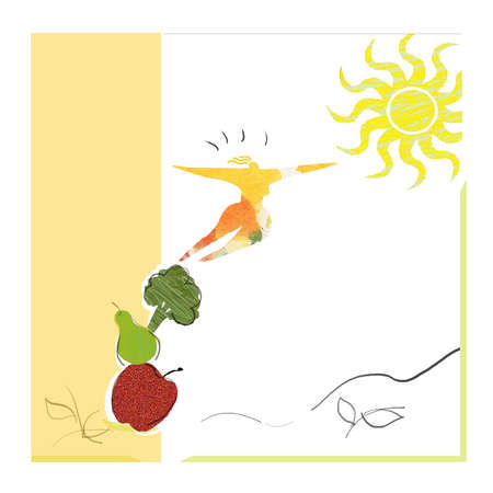 Woman reaching the sun on a ladder of vegetables.