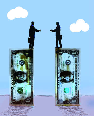 Two businessmen standing on the edge of dollar bills reaching to shake hands. of