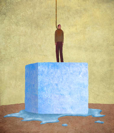 Man in a noose on top of a melting ice cube.