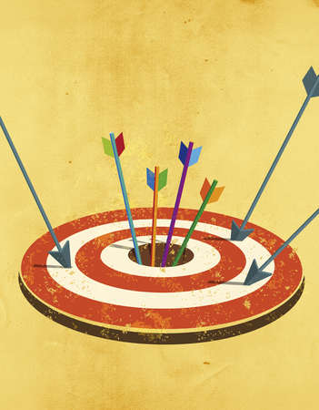 Arrows in and around bull's eye of a target.