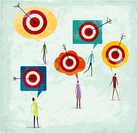 Montage of people,speech bubbles,targets and arrows
