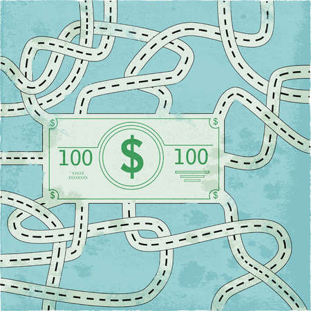 Numerous roads leading to a One Hundred dollar bill.