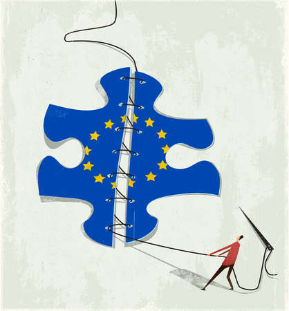 Puzzle piece with the EU symbol being mended.