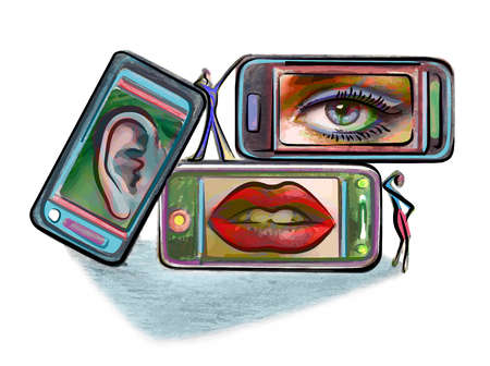 smart phones showing an ear,eye and mouth