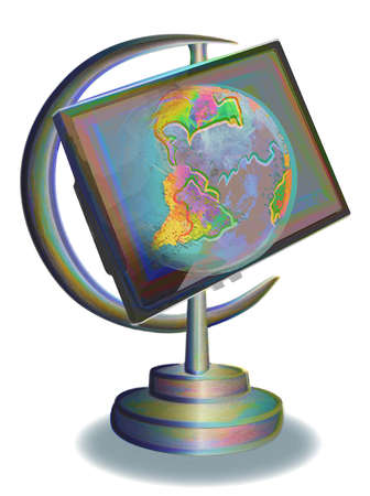 Laptop as earth globe.