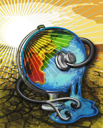 Stethoscope examining a melting earth.