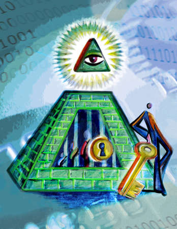 Man locking assets in a pyramid.