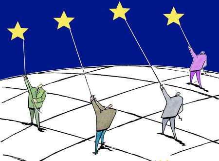 Group of businessmen holding up stars