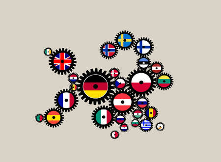 European Union in the shape of cogs with national flags.