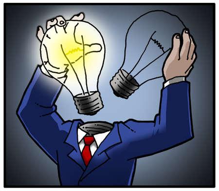 Man replacing his lightbulb head.